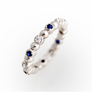 Stackable Eternity Ring Round Sapphires and Diamonds, prong set, 14k