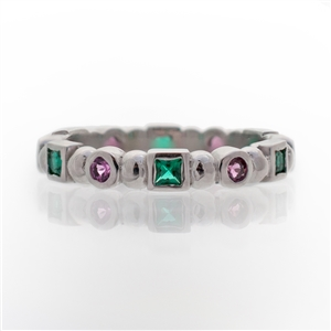 pink tourmaline and emerald eternity ring