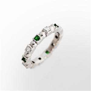 shape stackable eternity ring princess tsavorite garnet & diamonds