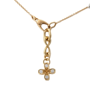 Square Petal Flower Diamond Pendant with Extender