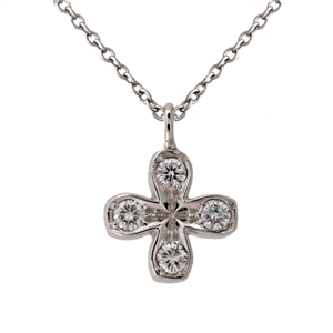 Square Petal Flower Diamond Pendant