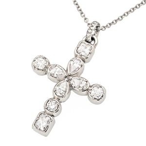 Statement Diamond Cross 2 ct, Cushion cut, pear cut, round brilliant cut, and asscher cut diamonds