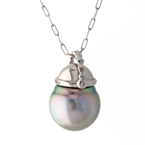 Tahitian Pearl and Diamond Basket Pendant, 14k Gold
