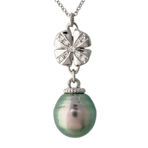 Four Leaf Clover Tahitian Pearl and Diamond Pendant