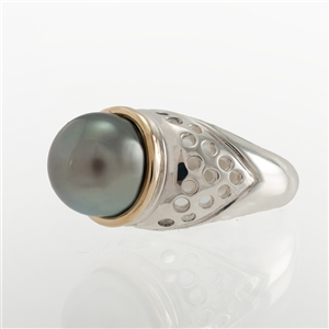 Tahitian Pearl Dome Ring, Silver with Gold Accent