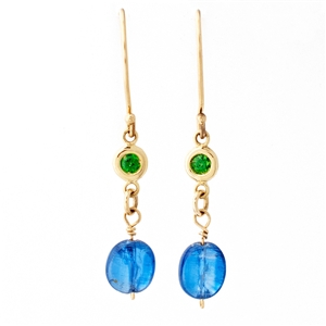 Tsavorite Garnet & Kyanite Dangle Earring