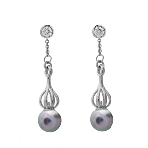 Versa Blue-Grey Pearl Drops with Bezel Diamond Studs