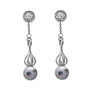 Versa Blue-Grey Pearl Drops with Florentine Diamond Studs