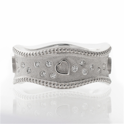 Wavey Diamond Wide Band with Hearts, 14k, 18k gold, sterling silver