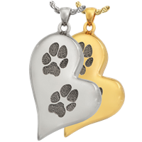 Heart Paw Print Pendant Stainless Steel