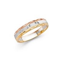 14K 3C 4mm DC Ladies Wedding Band