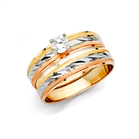 14K 3C Ladies Wedding Band Only