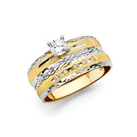 14K 2T Ladies CZ Wedding Band Only