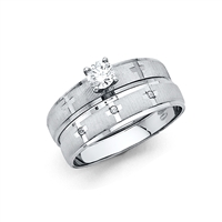 14KW Ladies CZ Wedding Band Only
