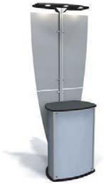 Exhibit Line Kiosk with Three Light Canopy and Enclosed Counter