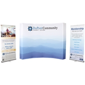 10 ft Curved Burst & 2 Banner Stands