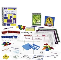 First Grade Complete resources: ten sets of flashcards, a bingo game, two memory games, three charts, a twelve-month calendar, colorful plastic links, dice, bug catcher with magnifying lens, clock and dry-erase marker, pencil, pen, and a one-year planner