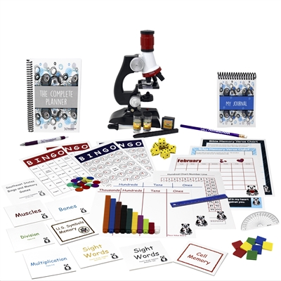 Fourth Grade resources: six sets of flashcards, bingo games, memory games, microscope and eye dropper, Cuisenaire® rods, protractor, ruler, dice, square tiles, Bible verse charts, hundred chart, number line, place value boards, calendar, journal, planner