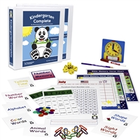 Kindergarten Complete Full Year Bundle teacher's manuals flashcards bingo games memory games charts base ten counting pieces number line hundred chart twelve-month calendar spiral-bound planner