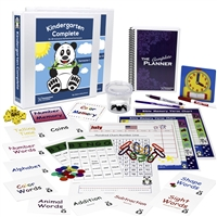 Kindergarten Complete Deluxe Bundle teacher's manuals flashcards bingo games memory games charts base ten counting pieces number line hundred chart twelve-month calendar spiral-bound planner