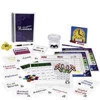 Kindergarten Complete resources: ten sets of flashcards, a bingo game, two memory games, three charts, a twelve-month calendar, colorful plastic links, dice, bug catcher with magnifying lens, clock and dry-erase marker, pencil, pen, and a one-year planner