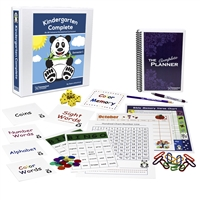 Kindergarten Complete Semester One Bundle teacher's manuals flashcards bingo games memory games charts base ten counting pieces number line hundred chart twelve-month calendar spiral-bound planner