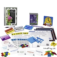 Second Grade resources: seven sets of flashcards, spelling squares, square tiles, tangrams, clock, dry-erase marker, dice, place value charts, base ten pieces, bingo games, memory games, charts, FAN-tastic notes, pencil, pen, journal, planner, calendar
