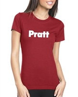 Pratt Ladies' Boyfriend T-Shirt - Cardinal / White - XX-Large