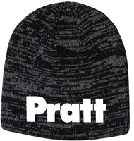 Pratt Sportsman Marled Knit Beanie Cap - Black & Dark Grey / White - One Size