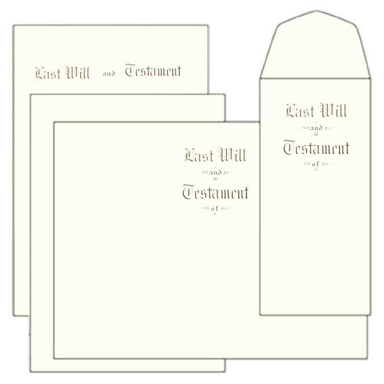 Letter Size Testament Ledger Last Will & Testament of Will Kit, Gold