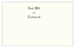 Will Covers, Legal Size, Testament Cover