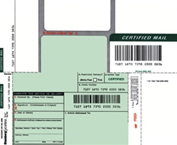 Certified Mail Labels, with Barcode and Article Number