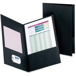 Legal Size Double Pocket Leatherine Folders, Black