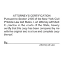 Attorney Certification Stamp New York State