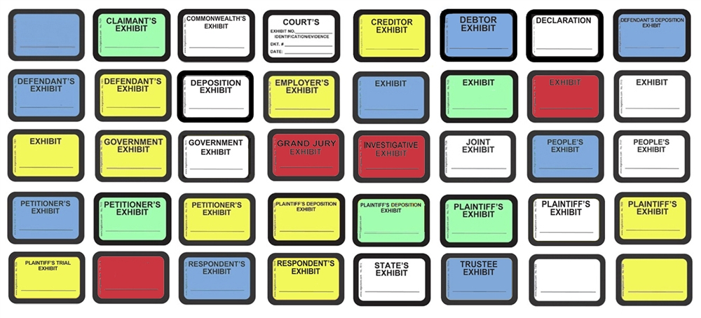 Legalstore exhibit labels exhibit stickers for Exhibit label template