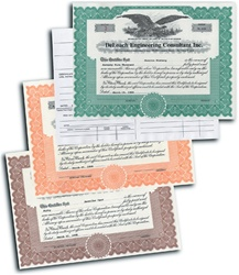Imprinted Stock Certificates for Corporations