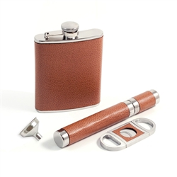 4 Piece Leather Flask, Cigar Case and Cutter Set