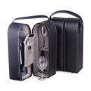 Black Leather Wine Caddy with 2 Glasses