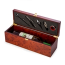 Rosewood Finish Wine Box Holder with Bar Set