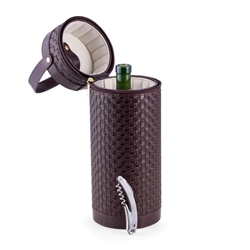 Brown Weaved Leather Wine Caddy