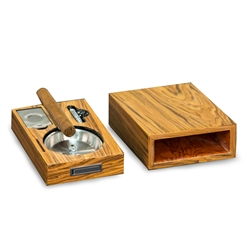"""Olive Wood"" Cigar Tray with Cutter and Punch"