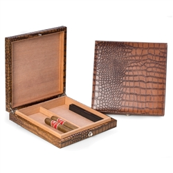 Brown  Leather 12 Cigar Humidor with Humistat