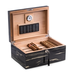 "Lacquered ""Ebony"" Wood 100 Cigar Humidor with Removable Tray"