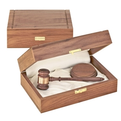 "11"" Judge's American Walnut Gavel with Sound Block in Walnut Case"