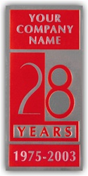 Silver Foil Embossed Anniversary Labels, Customized