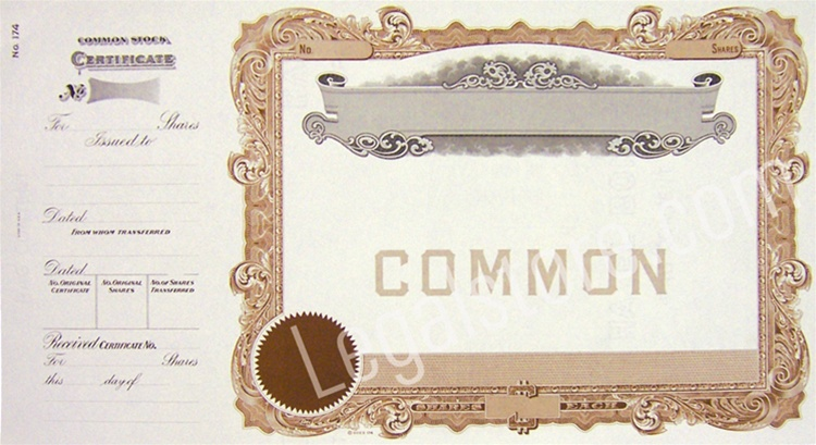 Common Blank Stock Certificates