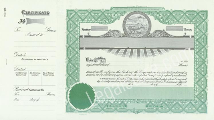 Kansas Stock Certificates