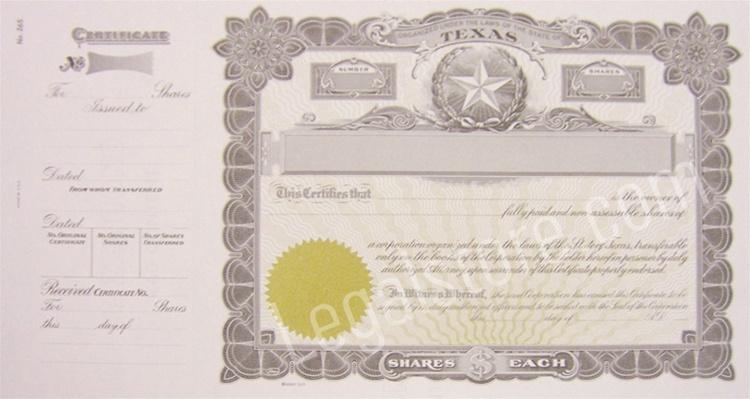 corporation stock certificate template