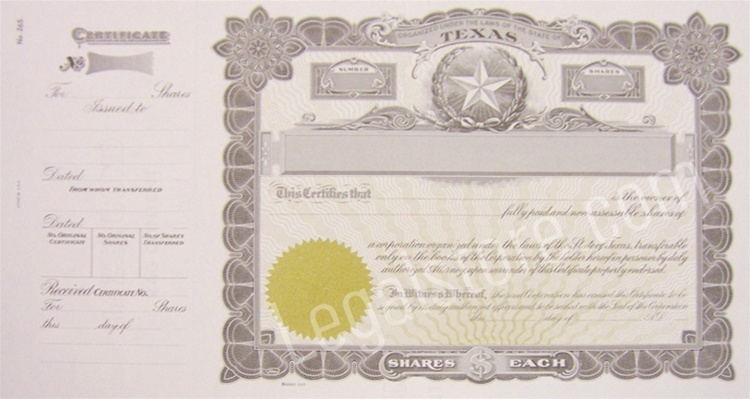 Texas Stock Certificates