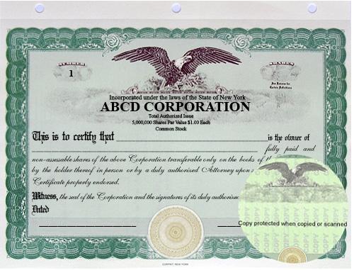 stock certificates. Black Bedroom Furniture Sets. Home Design Ideas